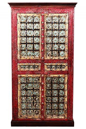 Orientalischer grosser Schrank Kleiderschrank Billur -3-185cm hoch | Marokkanischer Vintage Dielenschrank | Orientalische Schränke aus Holz massiv für den Flur, Schlafzimmer, Wohnzimmer oder Bad - Orientalische Möbel Wohnzimmer Schrank