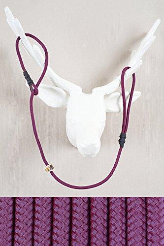 RETRIEVERLEINE   MOXONLEINE   Hundeleine 'Sporty', purpur, 140 cm x 6 mm MIT Zugstop, mit Hirschhornstop   geflochtene Hunde-Leine mit integriertem Halsband   Agilityleine   Retriever-Leine