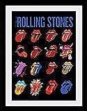 1art1 103404 Rolling Stones - Tongues Gerahmtes Poster Für Fans Und Sammler 40 x 30 cm