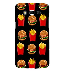Burger and Fries 3D Hard Polycarbonate Designer Back Case Cover for Samsung Galaxy Grand 2 :: Samsung Galaxy Grand 2 G7105 :: Samsung Galaxy Grand 2 G7102