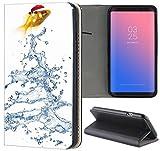 Samsung Galaxy S6 Hülle Premium Smart Einseitig Flipcover Hülle Samsung S6 Flip Case Handyhülle Samsung S6 Motiv (1039 Gold Fisch)