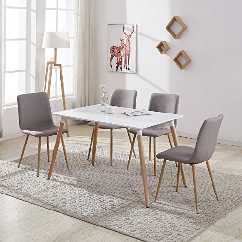 Wood Rectangular Dining Table with 4 Retro Metal Chairs Set for Dining Kitchen Breakfast Office Lounge Restaurant Inspired Designer (Brown Sand)