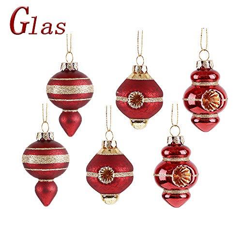Valery madelyn palline di natale di vetro 6 pezzi 5cm, decorazione dell'albero di natale plastica rosso dorato, addobbi e decorazioni natalizi, regali dei ciondoli e pendenti di natale