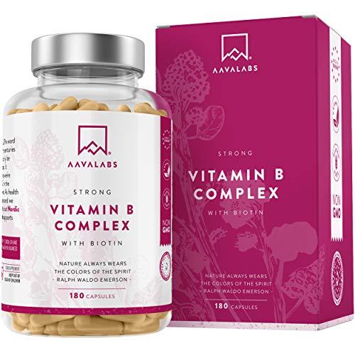 Complejo de Vitamina B - 180 Cápsulas para 6 Meses - 286,3 mg/Dosis Diaria - 8 Vitaminas B: B1, B2, B3, B5, B6, Biotina, B9 (Folato) y B12 - Refuerza el Metabolismo - 100{05a7160705649ab03b3479a9c5e0bd58bdf53cd4ad9247a1330a75e7cb071178} Vegano