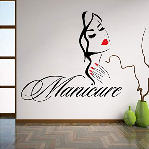 Maniküre Wandtattoo Schönheitssalon Nagelstudio Hand Mädchen Gesicht Vinyl Aufkleber Wohnkultur Friseur Frisur Wandaufkleber 78x70 cm
