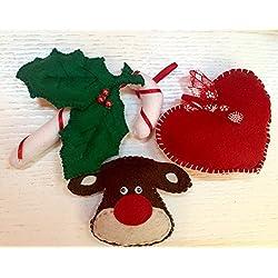 Decorazioni Albero di Natale; Addobbi natalizi: set di 6 pezzi composto da: Renna, Calza, Zucchero, Guanti, Cuori