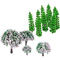MagiDeal 1 Paquete de 14 Piezas Árbol de Modelo Tren Trunks de Escenario Paisaje Landscape de Plástico Colorido