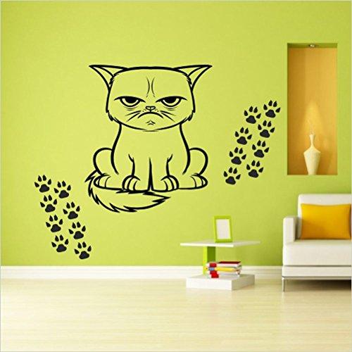 Preisvergleich Produktbild Katzen Aufkleber ,ca.60 cm + 20 einzelne Pfoten 3 cm Mod.Nr. 41 aus Hochleistungsfolie für Auto,Scheibe,Bad,Küche,Wandtattoo, für alle glatten Flächen - viele Farben zur Auswahl