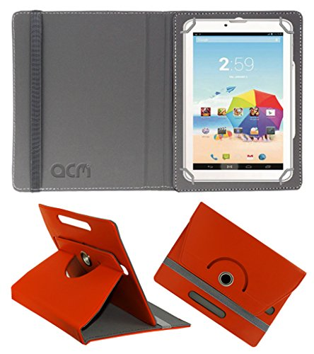 Acm Rotating 360° Leather Flip Case for Karbonn St52 Cover Stand Orange  available at amazon for Rs.149
