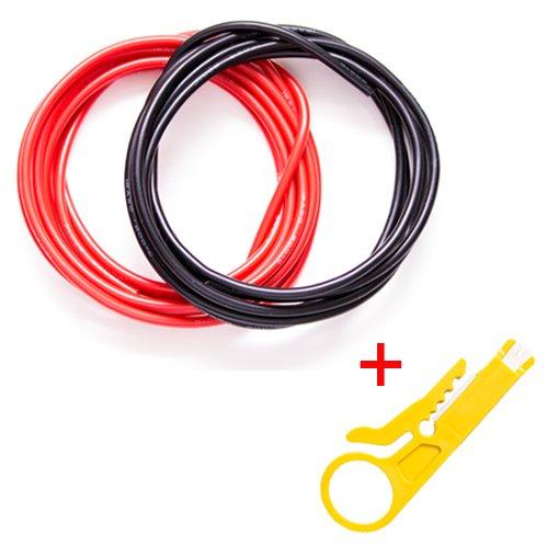 Gadgeter 20 mètres (3 m Rouge 3 m Noir) Calibre 16 Fil Flexible en Silicone avec Pince à dénuder Super Faible résistance électrique pour Une Connexion très Efficace AWG