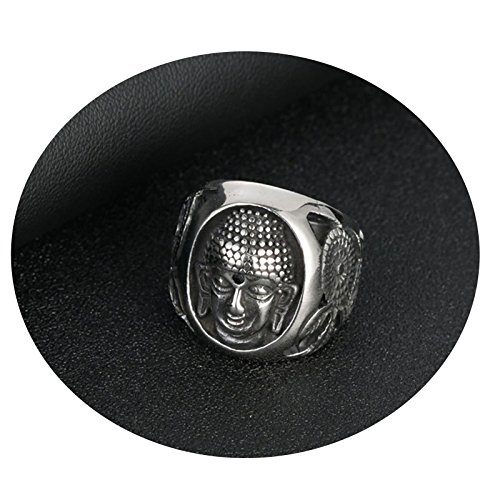 Daesar Titan Männer Ring Titanring Silber Buddhismus Buddha Freundschaftsring Punk Gothic Ring Größe 57 (18.1)