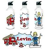 Kinderlampenland personalisierte Trinkflasche Feuerwehr mit Wunschname 400ml