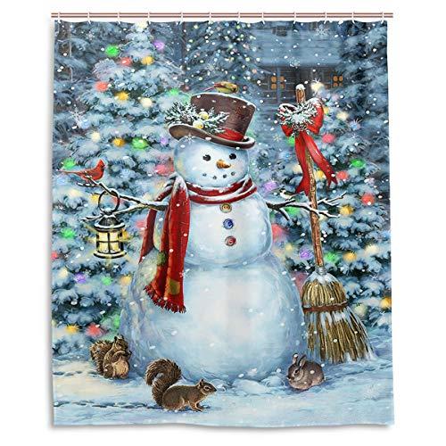 Winter Schneemann Weihnachtsbaum Lustige Tiere Duschvorhang Polyester Wasserdicht Schimmelfest Kardinal Vogel Eichhörnchen Kaninchen Schneeflocken Bad Zimmer Duschvorhang mit Haken 152,4 x 182,9 cm