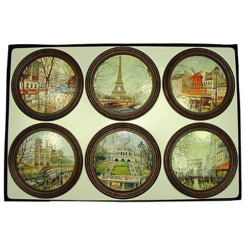 Paris Bath Set (Erinnerungen de France–Geschenkbox Untersetzer 6-Glas PARIS)