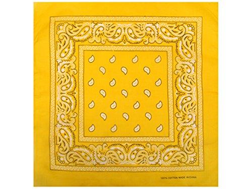 1 x Bandana Tuch Paisley SONNENGELB 100% Baumwolle Kopftuch gelbes Halstuch Schal gelb Sonnenscheinschuhe®