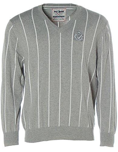 Arqueonautas® Pullover Strick V-Ausschnitt Streifen Grey Mel/Offwhite