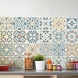 Ambiance-Live 24Pegatinas, Adhesivos con diseño de Azulejos - Mosaico de Azulejos murales de baño y Cocina | Baldosas Adhesivas, diseño auténtico de10x 10cm–24Unidades