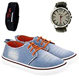 #8: Wiser Originals Men's Blue Denim Casual Shoes with watch and digital bend watch combo