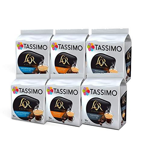 Tassimo Coffee L'OR Espresso Sortenpackung Kaffeekapseln - L'OR Decaffeinato, Delizioso, Fortissimo - 6 Packungen (96 Portionen)