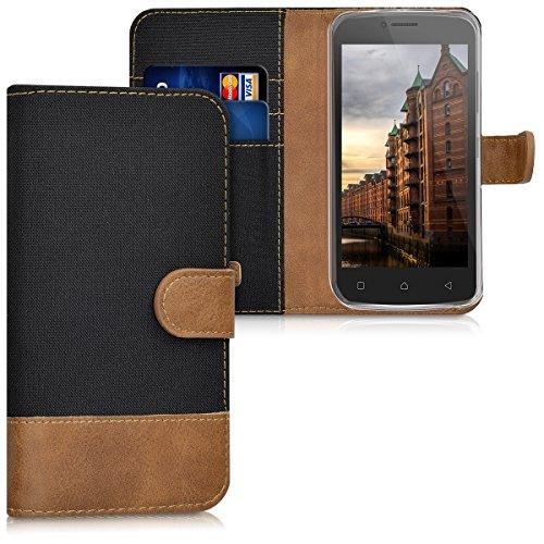 kwmobile Lenovo B Hülle - Kunstleder Wallet Case für Lenovo B mit Kartenfächern und Stand