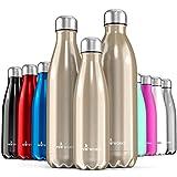 Proworks Edelstahl Trinkflasche | 24 Std. Kalt und 12 Std. Heiß - Premium Vakuum Wasserflasche - Perfekte Isolierflasche für Sport, Laufen, Fahrrad, Yoga, Wandern und Camping - 750ml - Gold