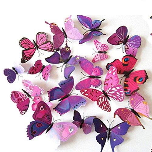 Amybria 3D Decal Bricolage Décorations Accueil Chambre Papillon Sgoupille 12Pcs Violet