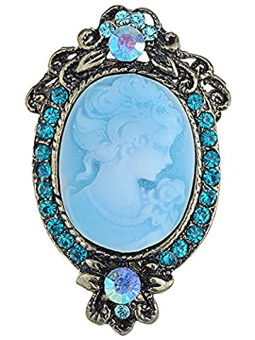 Aqua Crystal Cameo Lady Maiden Profile Maid Broche florale Turquoise
