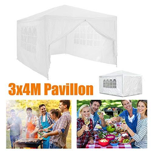 Huini 3x4m Gartenlaube mit 4 Seitenwänden für Party im Freien Hochzeit Camping BBQ Picknick Event Shelter Sonnenschutz Zelt Markise Wasserdicht Einfache Installation - Weiß