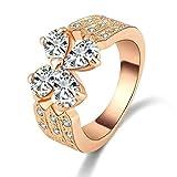 Aooaz Schmuck Damen Hochzeit Ringe Vergoldet Ringe Blume Ring Strass Zirkonia Ring Größe 57 (18.1)