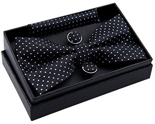 Retreez - Pajarita pequeña, de lunares, preanudada, 12 cm, con pañuelo cuadrado de bolsillo y gemelos - Set de regalo negro Black with White Dots Talla única
