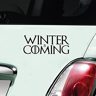 Winter Is Coming Game of Thrones Black Car Sticker Decal Vinyl Window Sticker - (one P&P charge no matter how many items you buy from Aerialballs.)
