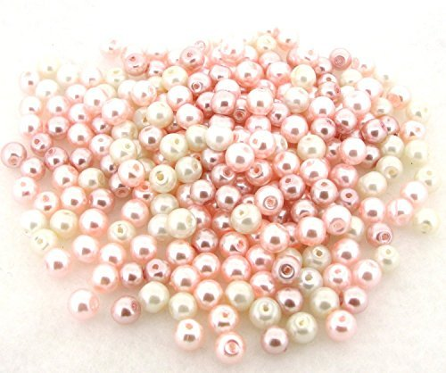 Beads Direct USA's Glass Pearls Mix 200pcs 6mm - Barely Pink Mix by Beads Direct USA