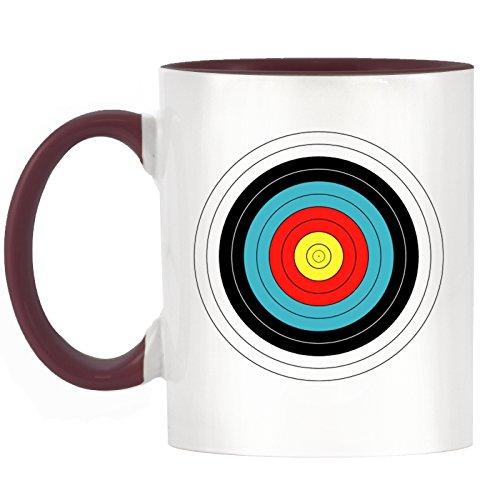 Bogenschießen Ziel Design bicolor Tasse mit Burgund Griff & Innen