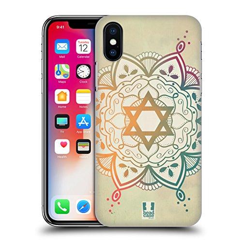 Head Case Designs Mix Di Colori Stella Di Davide Cover Retro Rigida per Apple iPhone X Mix Di Colori