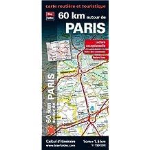 60 km autour de Paris, carte routière et touristique