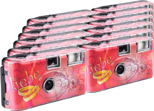 TopShot Love Hearts Einwegkamera / Hochzeitskamera (27 Fotos, Blitz, 12-er Pack)