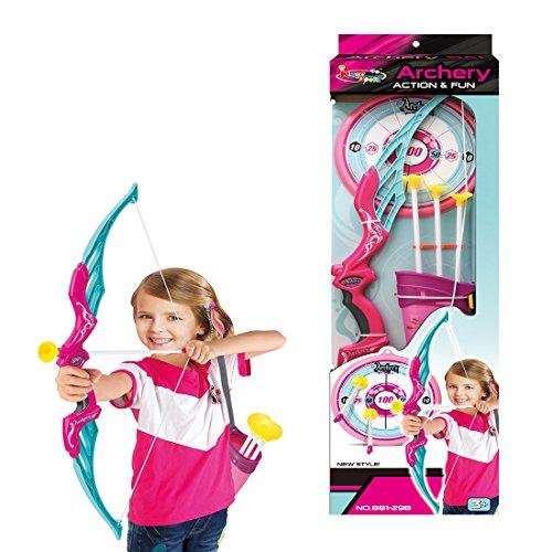 Seciie Pfeil und Bogen Set für Kinder, Bogenschießen Set Outdoor Schießspiele mit 3 Starken Saugnapfpfeilen, 1 Köcher, und 1er Zielscheibe, für Kinder Teams Spiel Geschenk