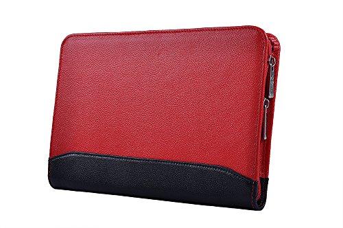 Kompakte professionelle Leder Organizer Schreibmappe für iPad Mini 4, A5 Papier,Rot + Schwarz (Padfolio Case Für Ipad 4)