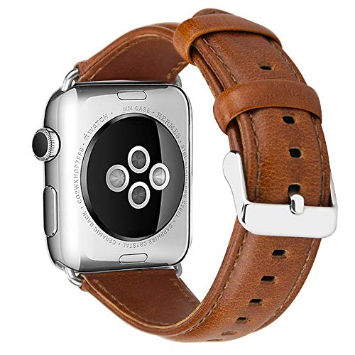MroTech Correa Compatible para Apple Watch Serie 4 44mm y 42mm Serie 3,2,1, Pulsera de Reemplazo de iWatch Correa Banda de Reloj para Apple Watch Sport Edition Nike+ (42 mm / 44 mm, Retro-Marrón)