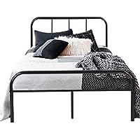 Cadre de lit en Métal Coavas 141.8x198 Industriel Unisexe avec 10 Pieds en Métal et Sommier Intégré (Lit Double) - Noir …