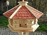 Maxi Vogelhaus XXXL Neu mit eckigem Eingang Vogelhäuschen vom Schreiner Holz Futterhaus Futterhäuschen Vogel Pavillon Vogelvilla mit oder ohne 3 Bein-Ständer Sonderpreis Futterspender (Braun ohne Ständer)