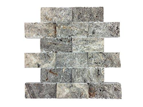 Naturstein-Mosaik aus Marmor als Wandstein/Steinwand/Verblendstein | Wandverkleidung für Bad, Küche, Diele oder Wohnzimmer aus echtem Stein | Ocean Silver 0114110 (silber) (Dusche-badewanne-wand-platten)