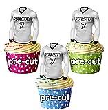 vorgeschnittenen personalisierbar Essbar Fußball Shirts mit gewählter Name & Nummer–Cupcake Topper/Kuchen Dekorationen Real Madrid Farben (12Stück)