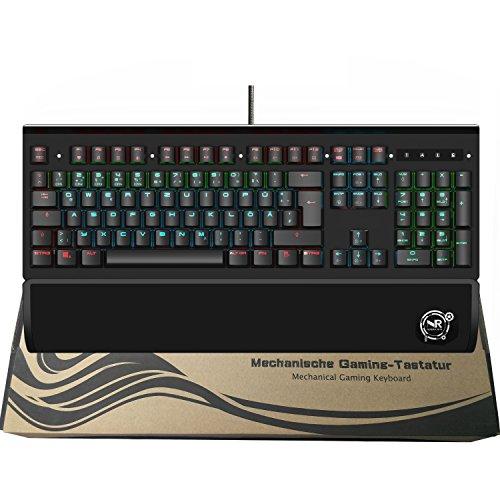 Preisvergleich Produktbild NORMIA RITA T909 Mechanische Gaming-Tastatur RGB LED Beleuchtet Blau Switch Game Keyboard USB Verdrahtete mit Handballenablage (QWERTZ,  Deutsches Layout)