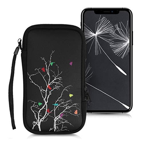 """kwmobile Handytasche für Smartphones L - 6,5\"""" - Neopren Handy Tasche Hülle Cover Case Schutzhülle - Vögel AST Design Mehrfarbig Pink Schwarz - 16,2 x 8,3 cm Innenmaße"""