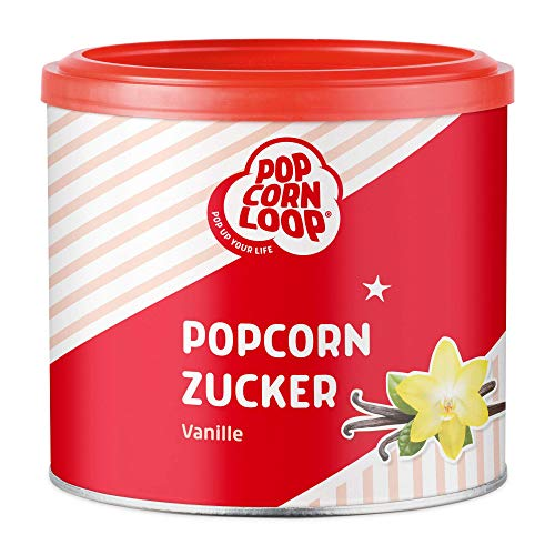 Popcornzucker Vanille 300 g mit Bourbon-Vanille Zucker Vanillin Popcorn Mais Gewürz zum Verfeinern Kochen Backen Dessert Müsli Joghurt
