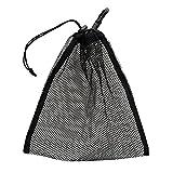 Homyl Mesh Ballsack mit Haken für ca. 30 Golfbälle/Tischtennisbälle, 24 x 24 cm - Schwarz