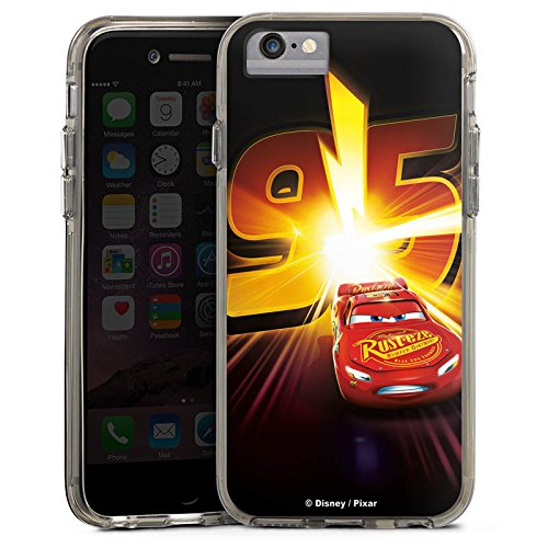 Apple iPhone 6 Bumper Hülle Bumper Case Glitzer Hülle Lightning Mcqueen 95 Disney Cars Disney Pixar Bumper Case transparent grau