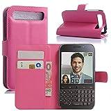 HualuBro BlackBerry Classic Hülle, Premium PU Leder Leather Wallet HandyHülle Tasche Schutzhülle Flip Case Cover für BlackBerry Classic Q20 Smartphone (Rose)