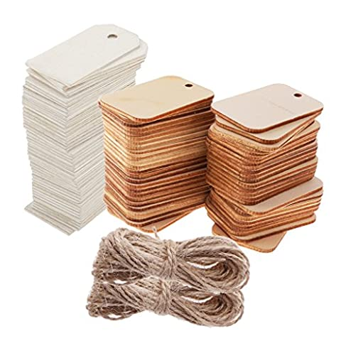 Sharplace 100 Pieces Blank Wooden Rectangle Wedding Card Wish Tree